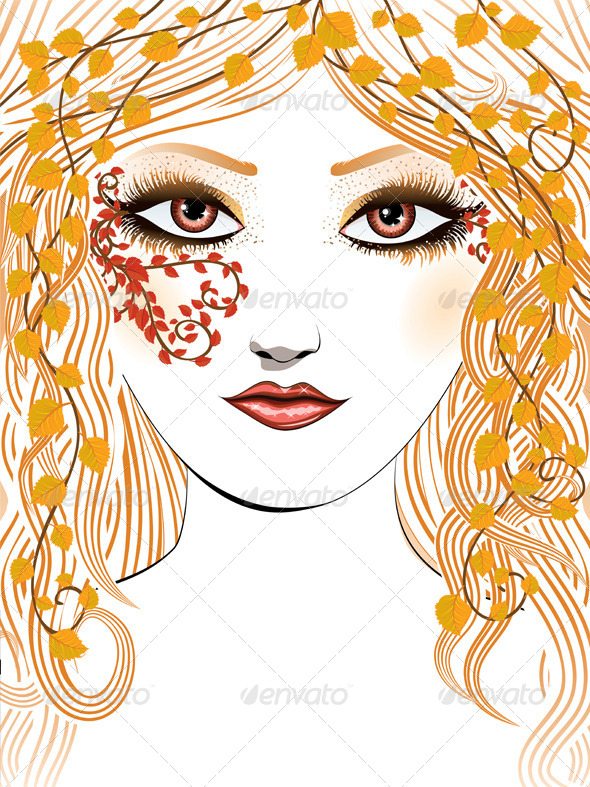 Autumn Girl Face   - People Characters
