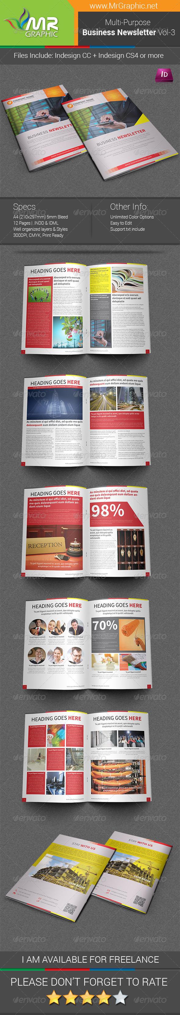 Multipurpose Business Newsletter Template Vol-03 - Newsletters Print Templates