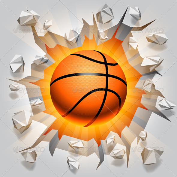 Basketball Ball and Cracked Wall - Sports/Activity Conceptual