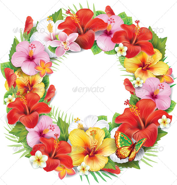 Wreath of Tropical Flower - Flowers & Plants Nature