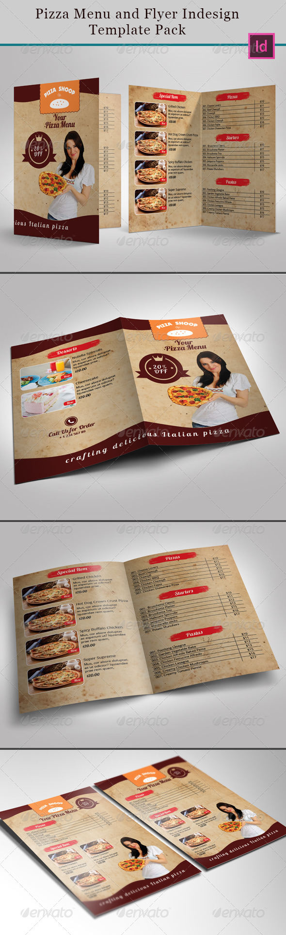 Pizza Menu and Flyer Indesign Template Pack - Brochures Print Templates