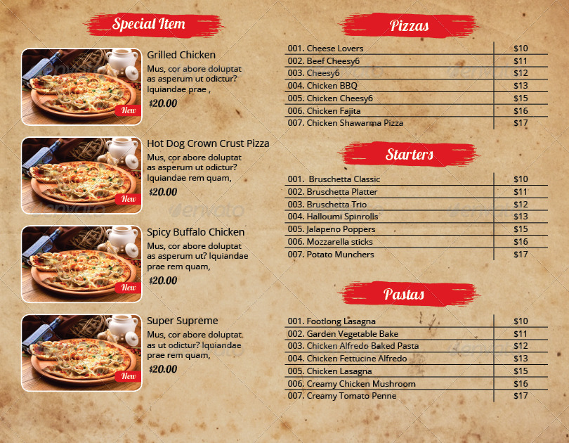 pizza menu and flyer indesign template pack by azadcsstune graphicriver. Black Bedroom Furniture Sets. Home Design Ideas