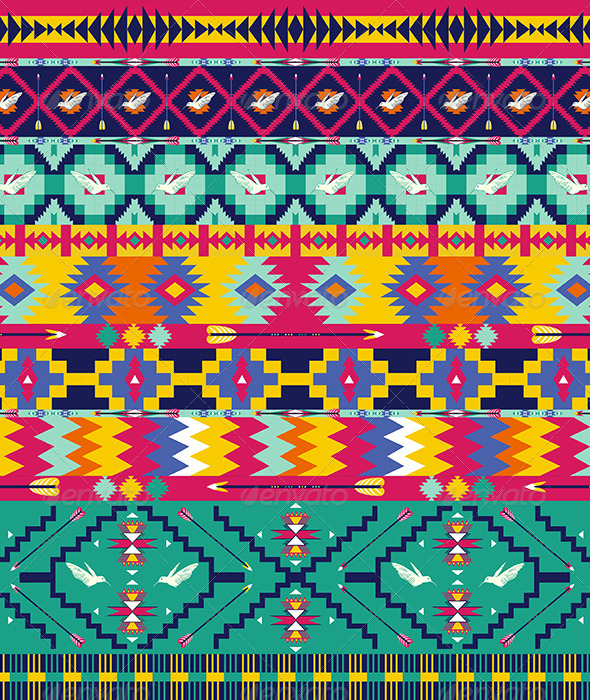 Seamless Colorful Aztec Pattern  - Patterns Decorative