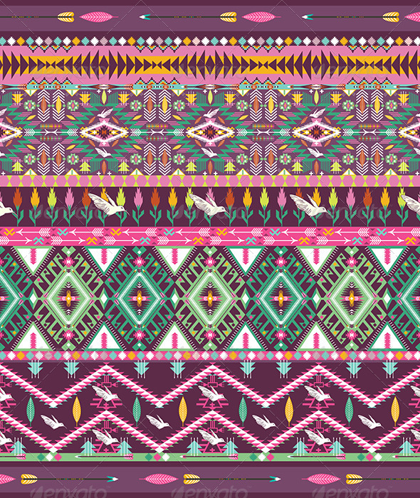 Seamless Colorful Aztec Geometric Pattern - Patterns Decorative