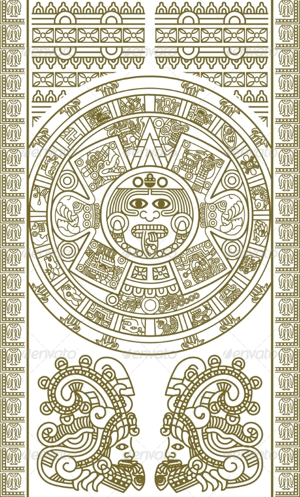 Stylized Aztec Calendar - Religion Conceptual
