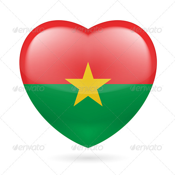 Heart icon of Burkina Faso - Miscellaneous Vectors