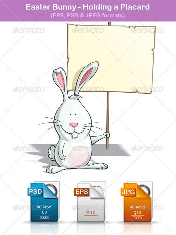 Easter Bunny - Holding a Placard - Animals Characters