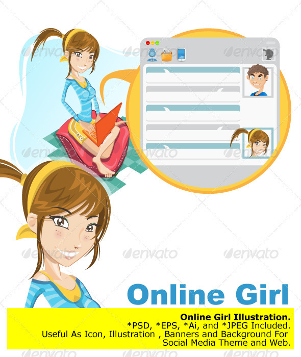 Online Social Media Girl Chatting - Communications Technology