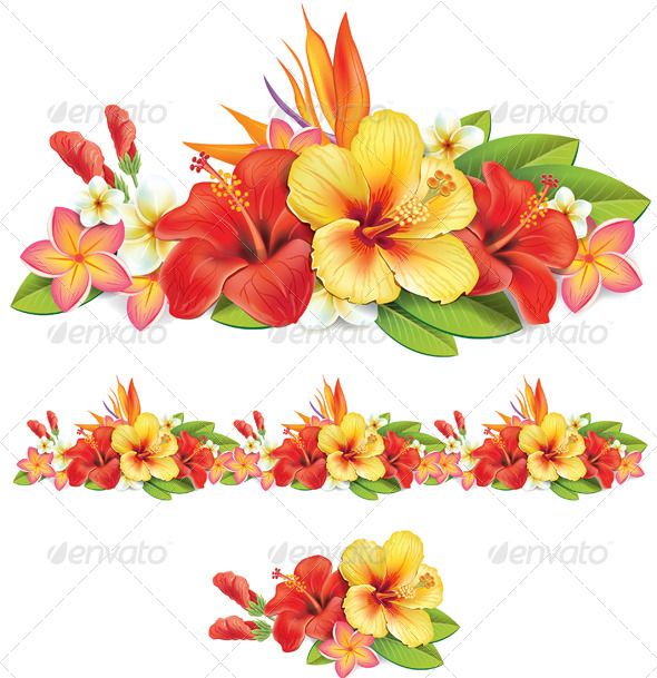 Garland of Tropical Flowers - Flowers & Plants Nature