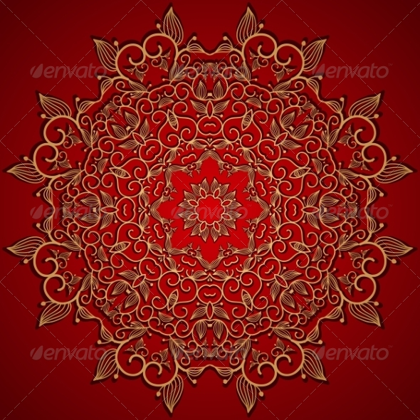 Red round gold lace ornament - Backgrounds Decorative