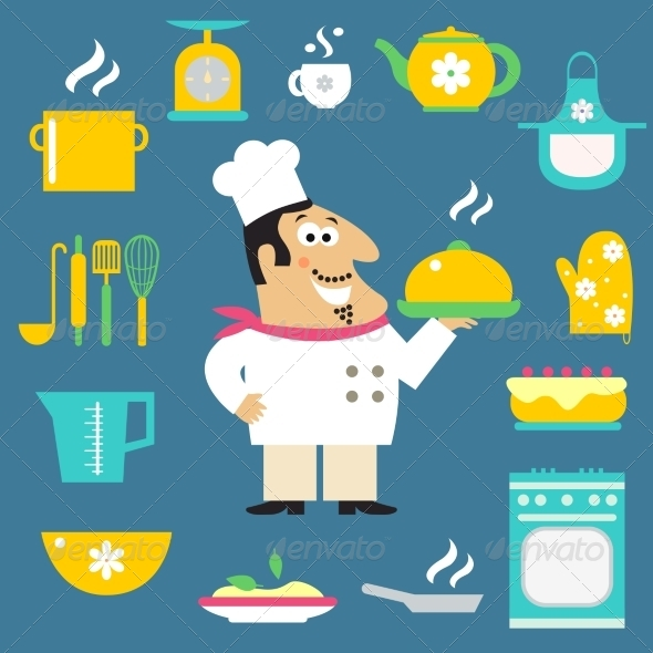 Restaurant Chef and Kitchen Items - Decorative Symbols Decorative