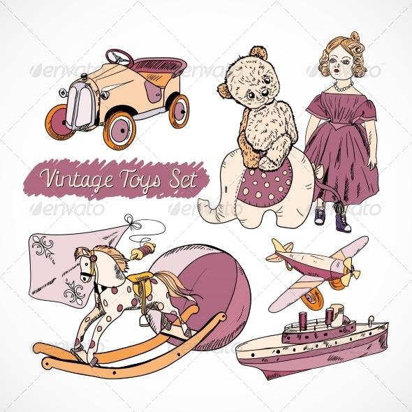 Toys Sketch Set Poster - Decorative Symbols Decorative