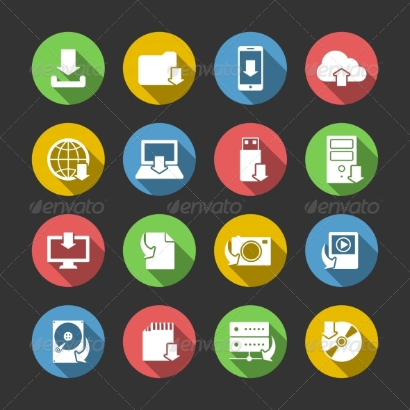 Internet Download Symbols Icons Set - Technology Icons