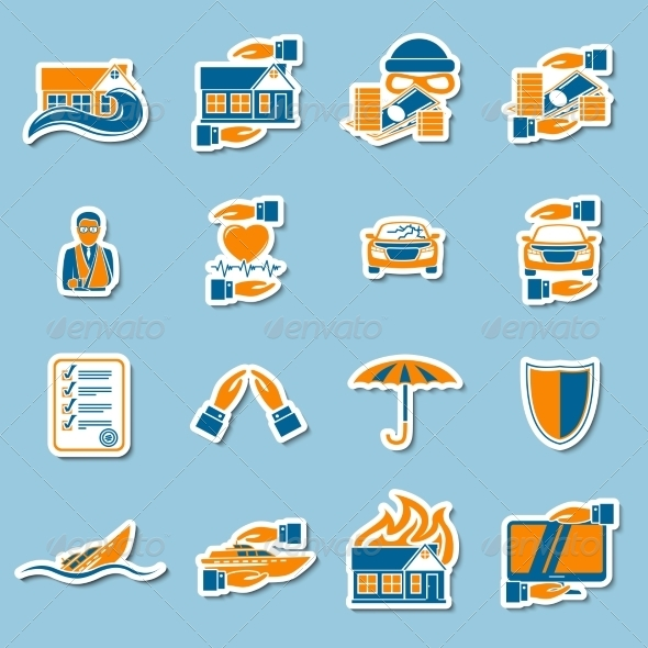 Insurance Security Stickers Collection - Concepts Business
