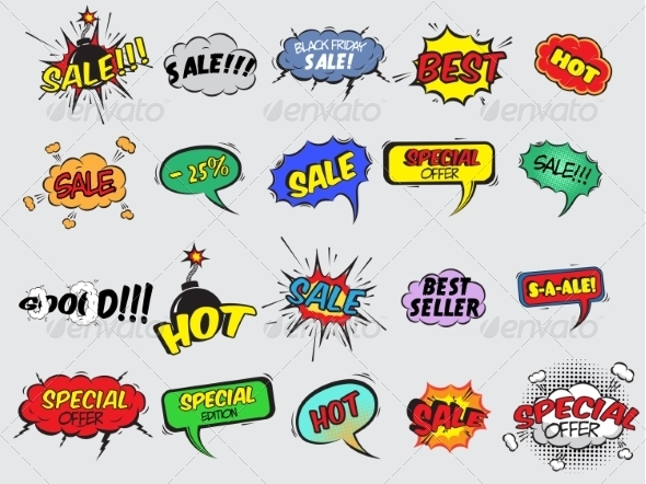 Comic Sale Explosion Icons - Retail Commercial / Shopping