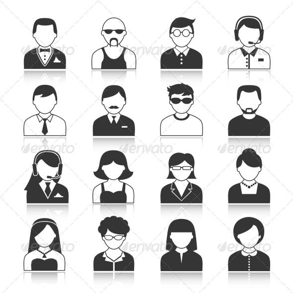 Avatar Characters Icons Set - Web Elements Vectors