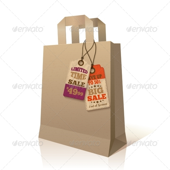 Paper Shopping Bag with Promotion Tags - Retail Commercial / Shopping