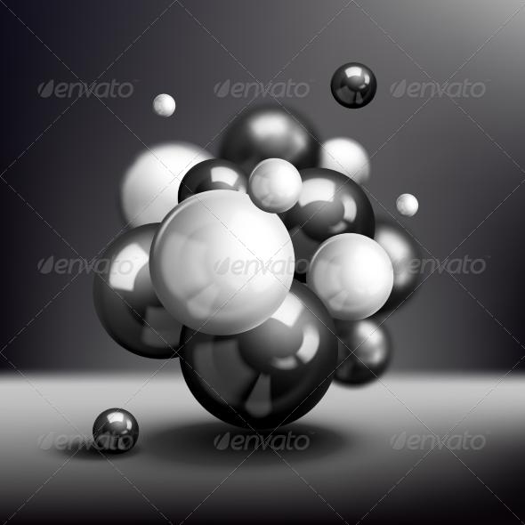 Dark 3D Spheres Molecule Poster - Backgrounds Business