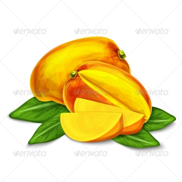 Mango Isolated Poster or Emblem - Food Objects