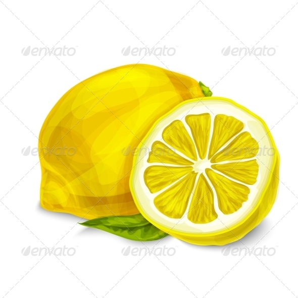 Lemon Isolated Poster or Emblem - Food Objects