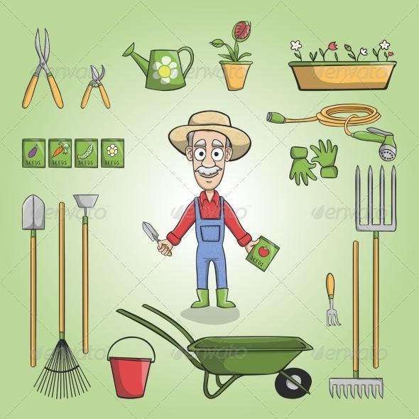 Happy Gardener Charactor Set - People Characters