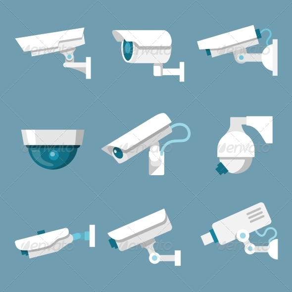 Security Cameras Icons Set - Technology Icons