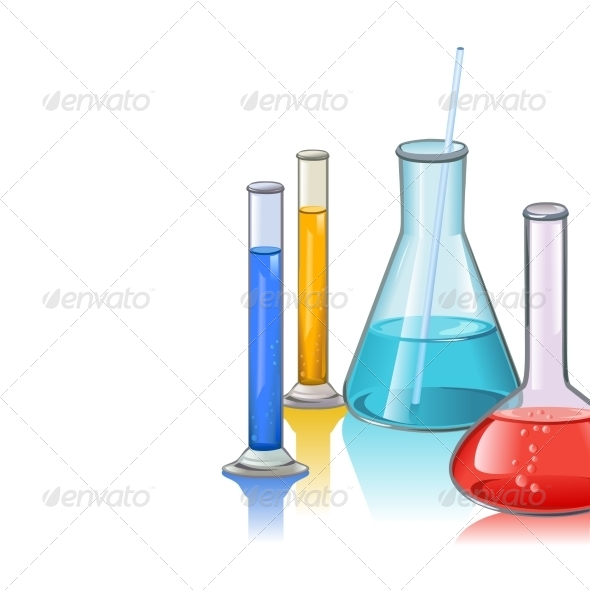 Colored Laboratory Flasks - Borders Decorative