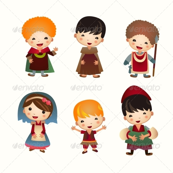 Cartoon Medieval People Icon Set - People Characters