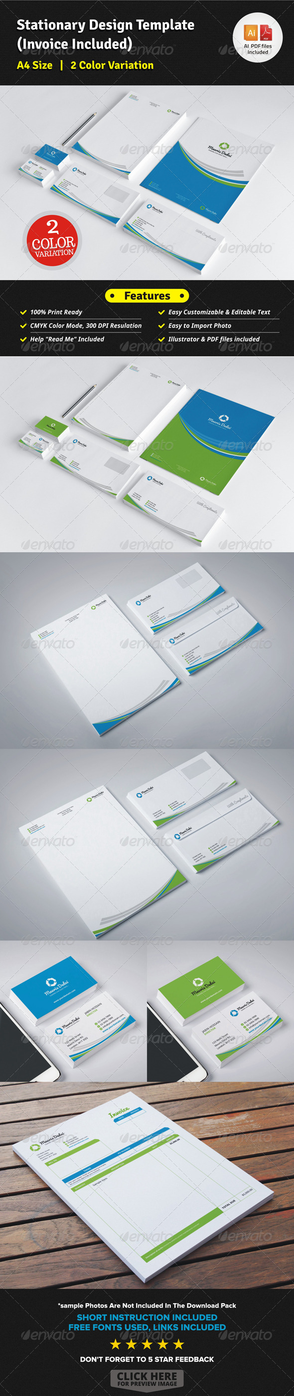 Stationary Design Template (Invoice Included) - Stationery Print Templates