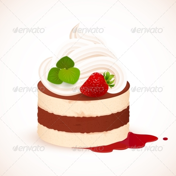 Tiramisu Cake with Cream and Strawberry - Food Objects