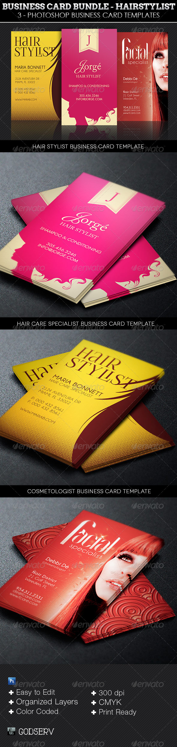 Hair Stylist Business Card Template Bundle - Industry Specific Business Cards