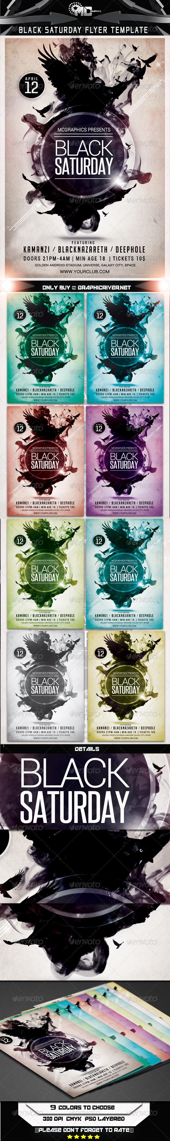 Black Saturday Flyer Template - Flyers Print Templates
