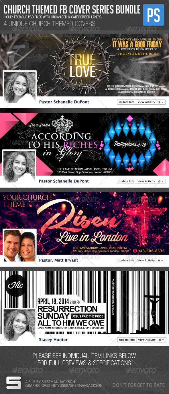 Church/Christian Themed FB Cover Bundle (4in1) - Facebook Timeline Covers Social Media