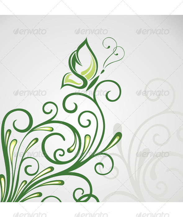 Abstract Floral Background with Butterfly - Backgrounds Decorative