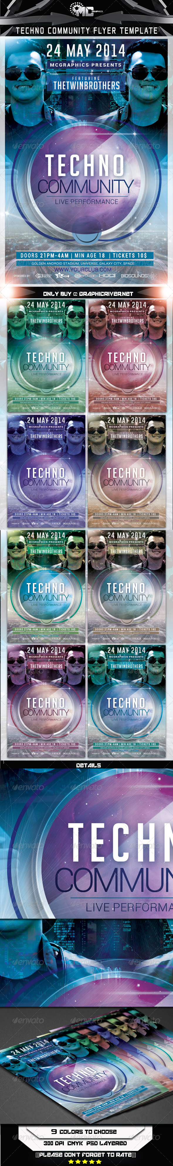 Techno Community Flyer Template - Flyers Print Templates