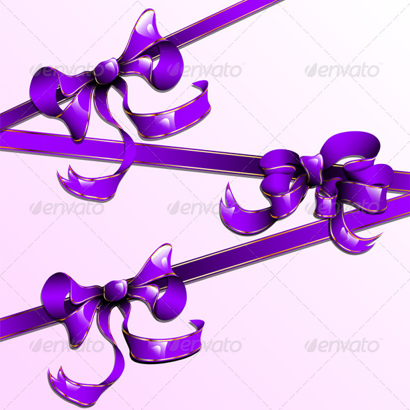 The Violet Ribbons with Golden Straights - Decorative Vectors