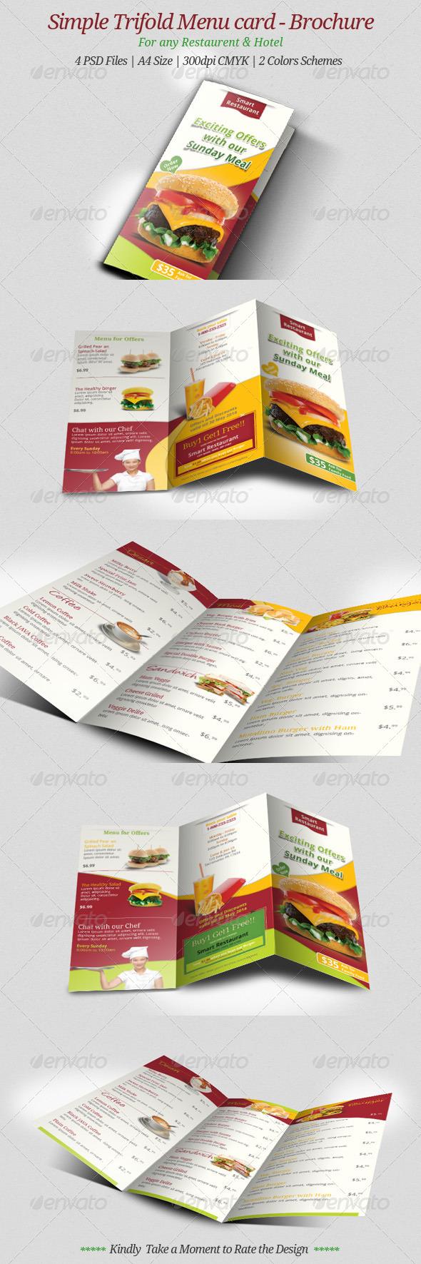 Simple Trifold Menu Card - Brochure  - Food Menus Print Templates