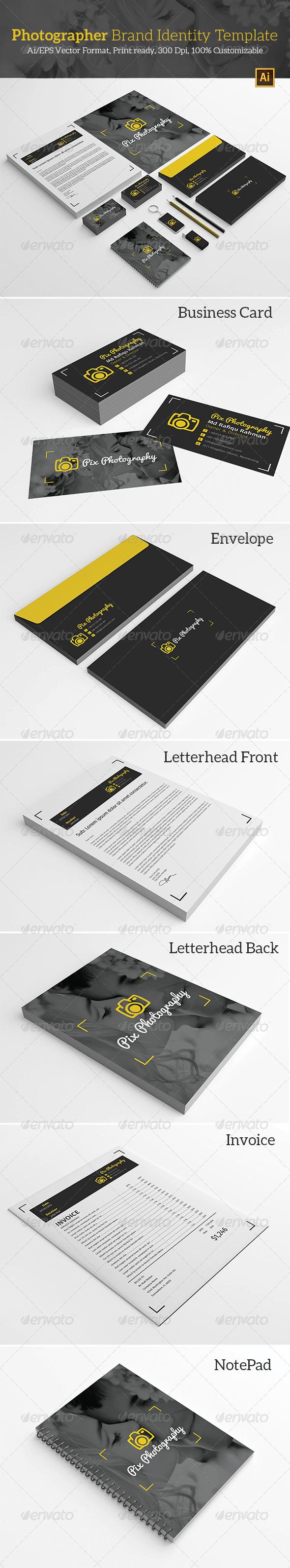 Photographer Brand Identity Template  - Stationery Print Templates