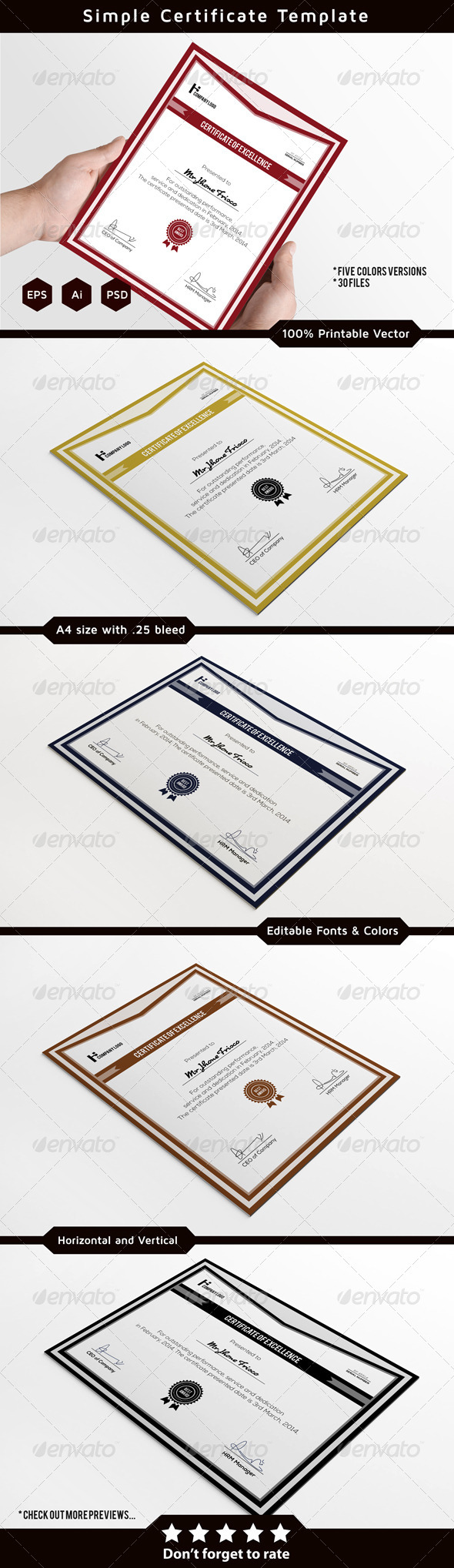 Corporate Certificate Template - Certificates Stationery
