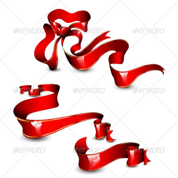 Three red ribbons - Decorative Vectors