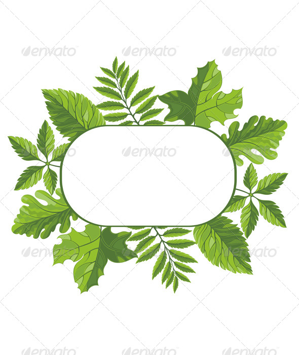 Frame with Green Leaves - Nature Conceptual