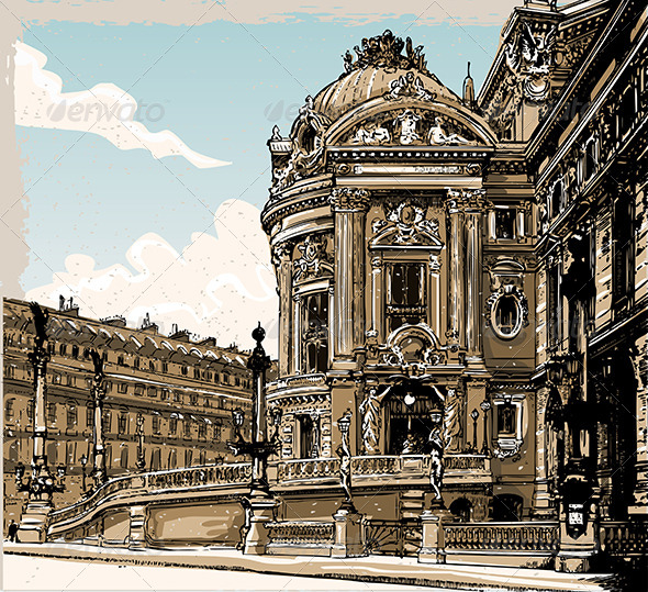 Vintage Hand Drawn View of Opera in Paris - Buildings Objects