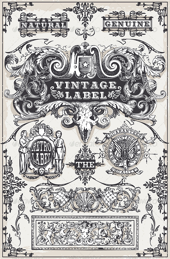 Vintage Hand Drawn Graphic Banners and Labels - Decorative Vectors