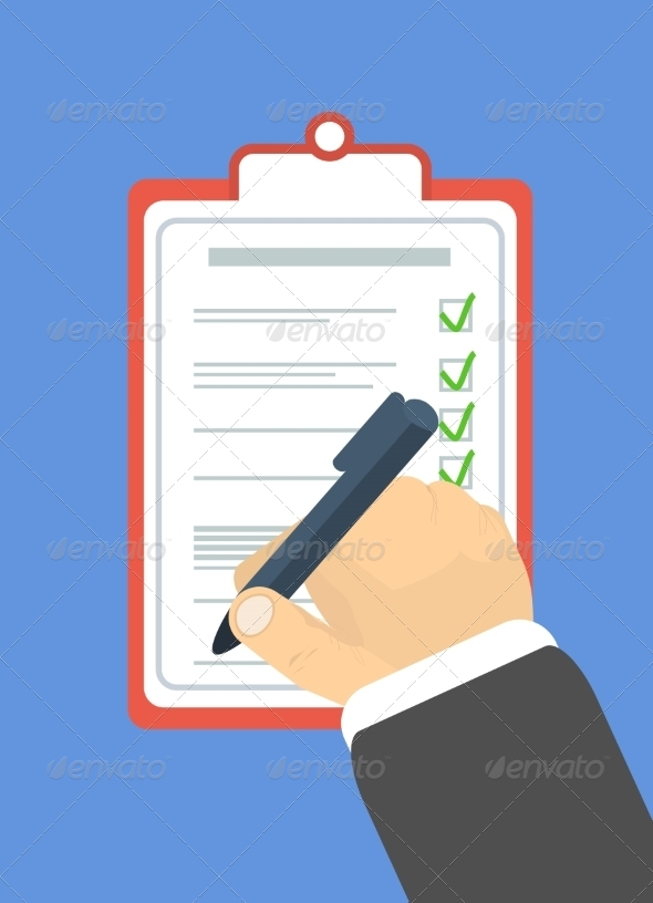 Hand Holding Pen and Signs the Document - Concepts Business