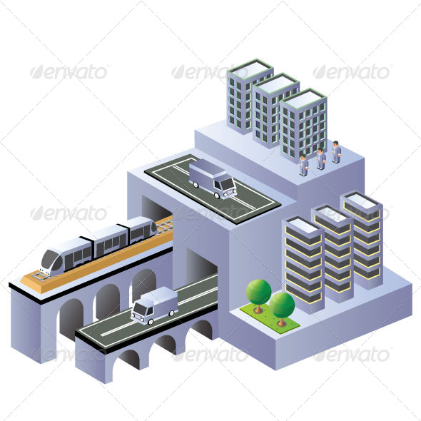 Isometric Plan - Buildings Objects