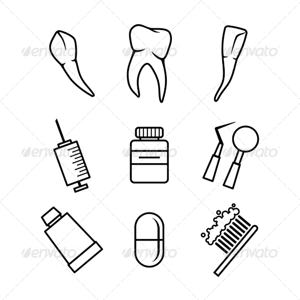 Dental icons set on white background - Health/Medicine Conceptual
