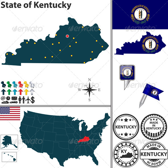 Map of state Kentucky, USA - Travel Conceptual