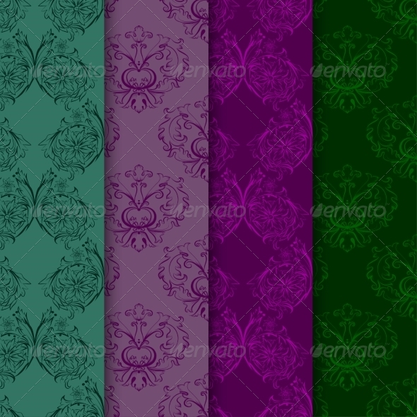 Set of Seamless Patterns with Damask Elements - Backgrounds Decorative
