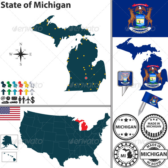 Map of State Michigan, USA - Travel Conceptual