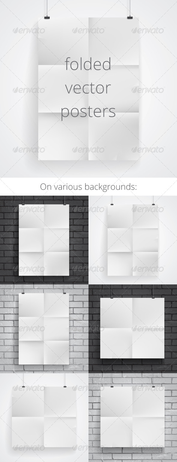 Blank  Folded Paper Posters - Backgrounds Business